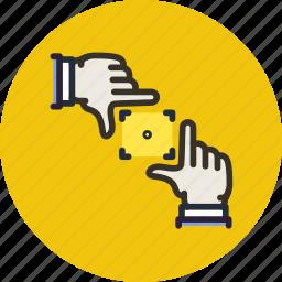 frame, gesture, hand, photo, picture, scene, shot icon