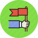 achivement, flag, hand, leader, leadership, meeting icon