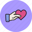 gesture, gift, hand, heart, love, share, valentine icon