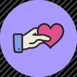 gesture, gift, hand, heart, love, share, valentine icon