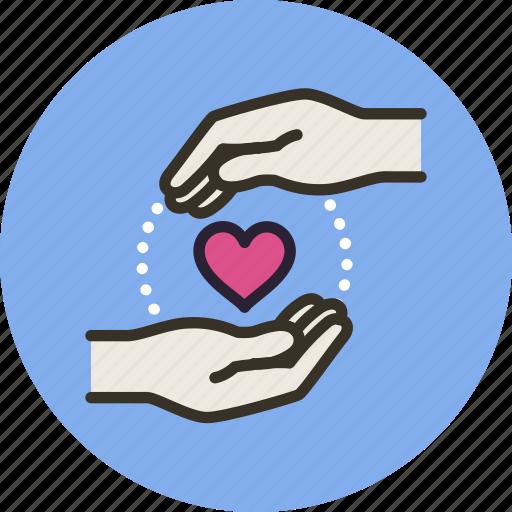 cherish, gesture, guardar, hand, heart, keep, love, save icon