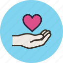 gesture, gift, give, hand, heart, love
