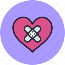 heal, heart, love, patch, wound, wounded icon