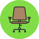 armchair, chair, furniture, interior, office, wheels icon