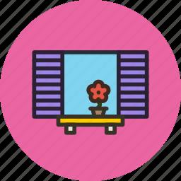 flower, interior, shutters, window icon