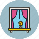 curtains, flower, interior, window icon