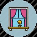 curtains, flower, interior, window