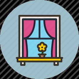 curtains, flower, interior, window icon