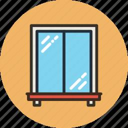 building, glass, interior, window icon