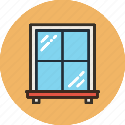 glass, interior, window, window leaf icon