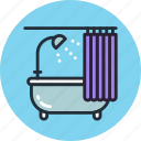 bath, bathtub, curtains, furniture, interior, lounge, relax icon
