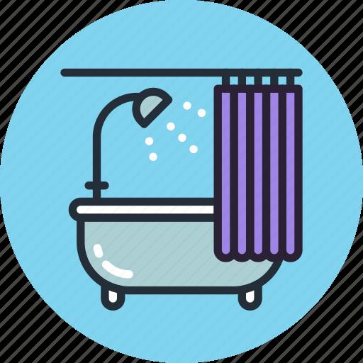 bath, bathtub, curtains, furniture, interior, lounge, relax icon