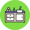 bathroom, furniture, interior, kitchen, sink, wash, water icon
