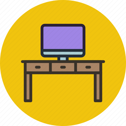 computer, desk, furniture, interior, office, table, work icon