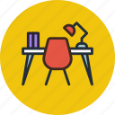 desk, furniture, interior, office, study, table, work icon