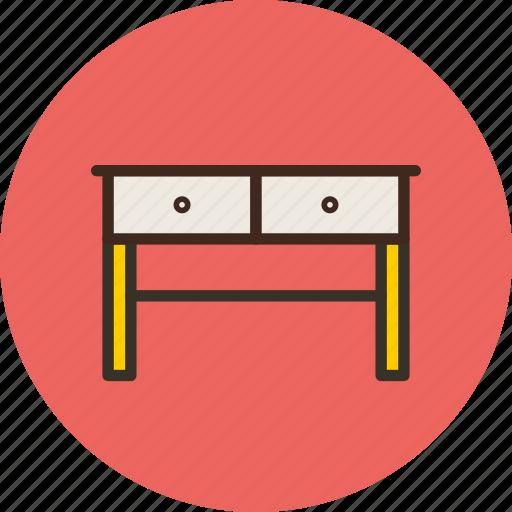 desk, drawer, furniture, interior, table icon