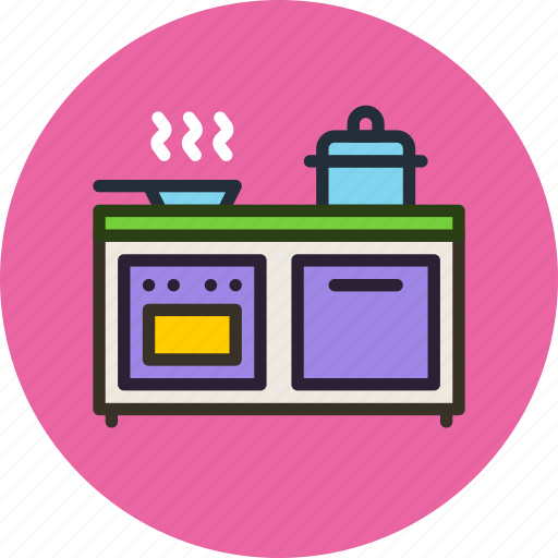 cooker, furniture, interior, kitchen, oven, pan, stewpot icon