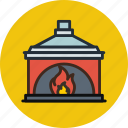 chimney, cozy, fire, fireplace, household, interior