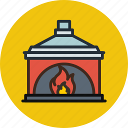 chimney, cozy, fire, fireplace, household, interior icon