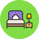 bed, bedroom, furniture, interior, lamp