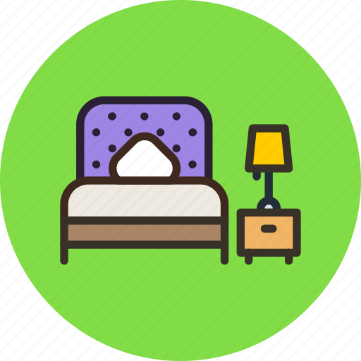 bed, bedroom, furniture, interior, lamp icon