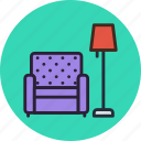 chair, furniture, interior, lamp, rest icon