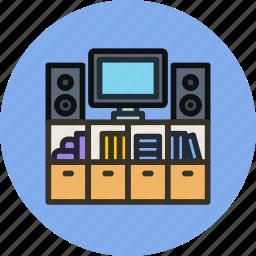 entertainment, furniture, household, interior, living, movie, room icon