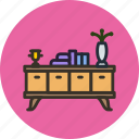 books, desk, flower, furniture, household, interior, table icon