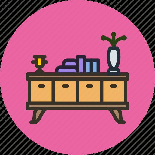 books, desk, flower, furniture, household, interior, table icon