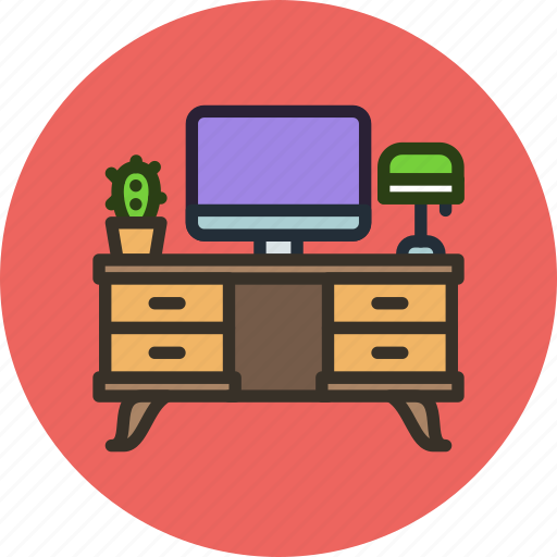 Computer, desk, furniture, interior, office, table, workplace icon - Download on Iconfinder
