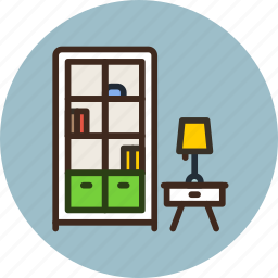bookcase, cabinet, cupboard, furniture, household, interior, lamp icon