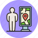 location, man, map, navigation, plan, scheme, stand icon