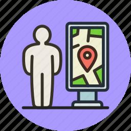 location, man, map, navigation, plan, scheme, stand icon
