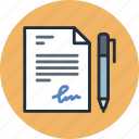 document, file, pen, sign, signature, text, write icon