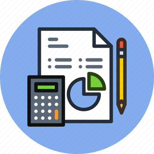 analytics, business, calculator, data, diagram, document, file, work icon