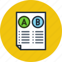 comparison, document, file, a/b testing, split test