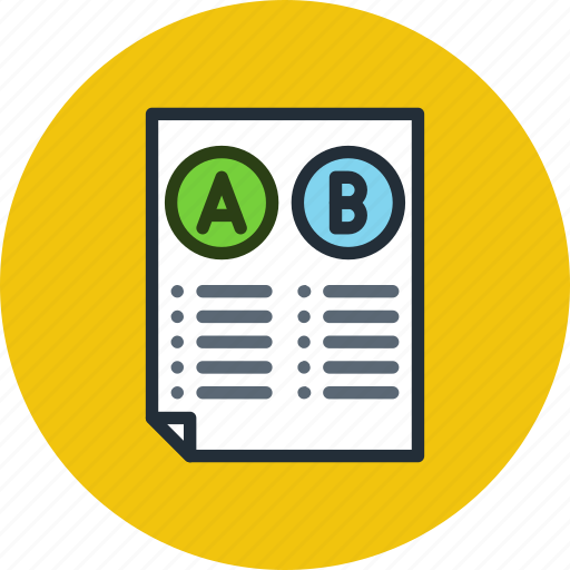 a, b, comparison, document, file, split, test, testing icon