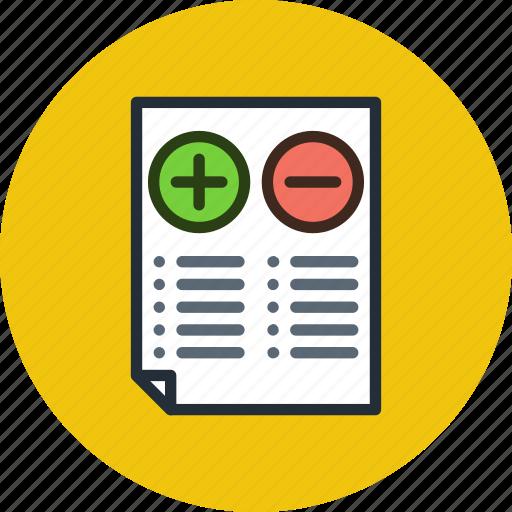 cons, minus, plus, pros, split, test, testing icon