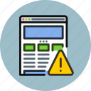 alert, browser, error, internet, responsive, web, website, wireframe icon