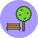 bench, ecology, nature, park, tree icon