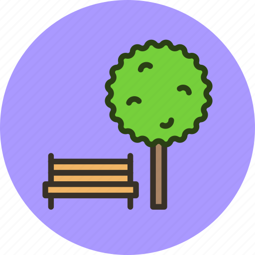 bench, ecology, nature, park, summer, tree icon