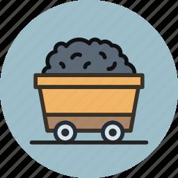 cart, mine, mineral, mining, ore, rail, truck icon