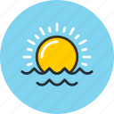 ocean, sea, sun, sunrise, sunset, sunshine icon