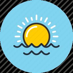 nature, ocean, sea, sun, sunrise, sunset, sunshine icon