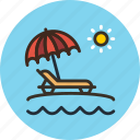 beach, lounger, sea, summer, sun, travel, umbrella, vacation icon