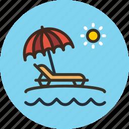 beach, lounger, sea, summer, sun, travel, umbrella, vacation icon