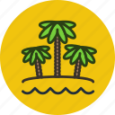 beach, nature, ocean, palm, sand, sea, travel, vacation icon