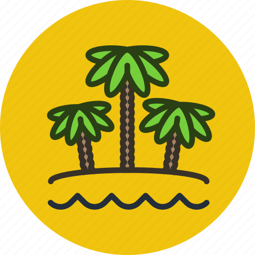 beach, nature, ocean, palm, sand, summer, travel, vacation icon
