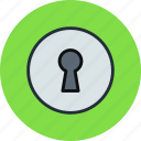 hole, key, keyhole, password, secure icon
