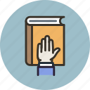 bibble, book, court, hand, honesty, law, swear icon